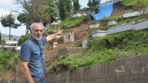 -Zonguldak'ta heyelan oldu, mezarlar zarar gördü