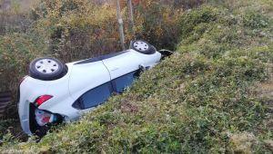 Tarlaya uçan otomobil devrildi: 3 yaralı