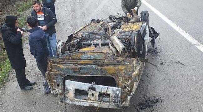 Dereye uçan araçtan kurtulan şoförü, emniyet kemeri kurtardı