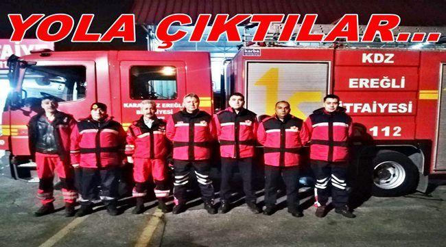Ereğli'den arama-kurtarma ekipleri afet bölgesine hareket etti...