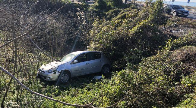 Yoldan çıkan otomobil fındık tarlasına uçtu: 1 yaralı