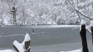 -Akçakoca'da bulunan göl kartpostallık görüntü oluşturdu