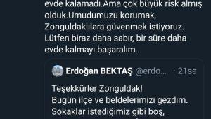 """Vali Bektaş, """"Umudumuzu korumak,Zonguldaklılara güvenmek istiyoruz"""""""
