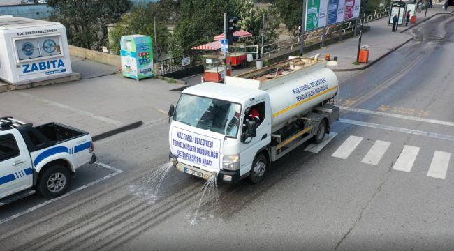 Yollar ilaçlı su ile yıkanıyor