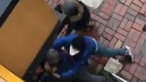 Banka önünde meydana gelen sıra kavgasında yumruklar konuştu