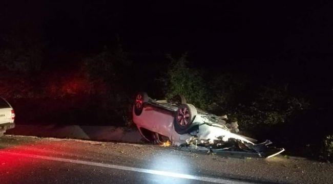 - Kontrolden çıkan otomobil takla attı: 2 yaralı