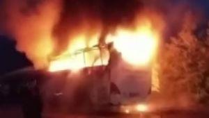 - Park halindeki yolcu otobüsü alev alev yandı