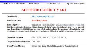 Meteoroloji uyardı: Don olaylarına dikkat!