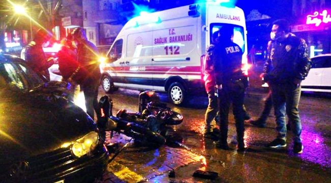 Motosikletle otomobil çarpıştı: 1 yaralı