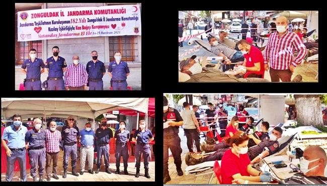 Alaplı'da vatandaşlar ve jandarma kan bağışı yaptı