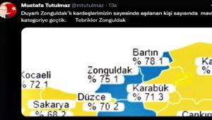 Zonguldak aşı haritasında maviye döndü