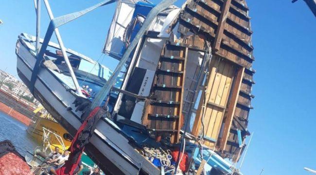 - Çarpışma sonrası tekne suya gömüldü