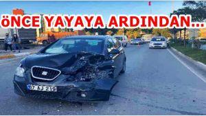 Otomobil yayaya ardından otomobile çarptı: 3 yaralı